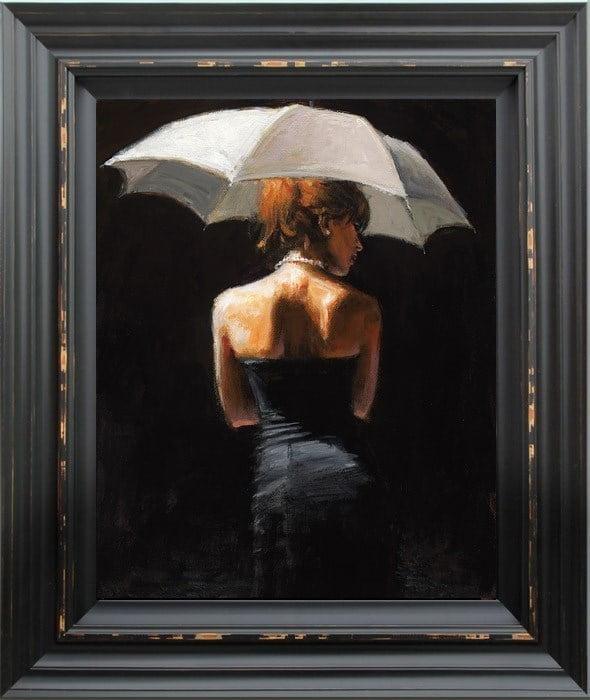 woman with white umbrella ~ Fabian Perez