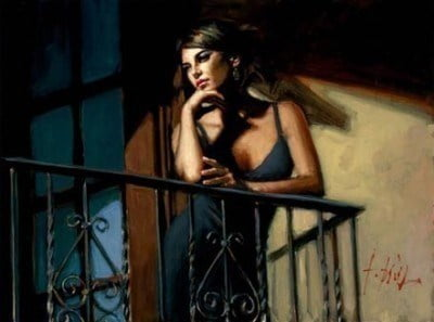 Saba at the Balcony VIII - Black Dress ~ Fabian Perez