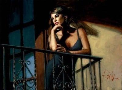 Saba at the Balcony VIII - Black Dress ~ Fabian Perez