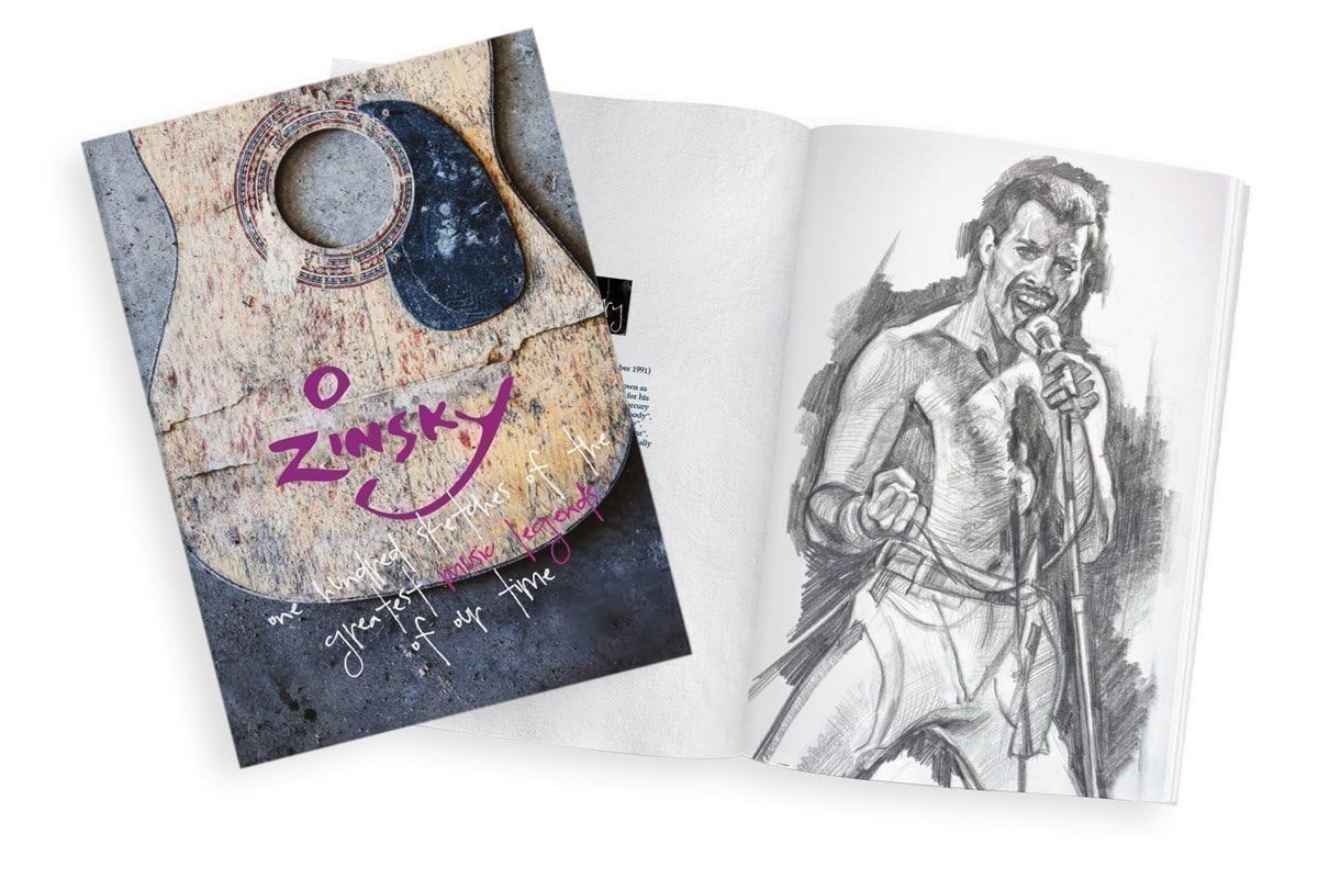 100 Sketches of the Greatest Music Legends of our Time ~ Zinsky
