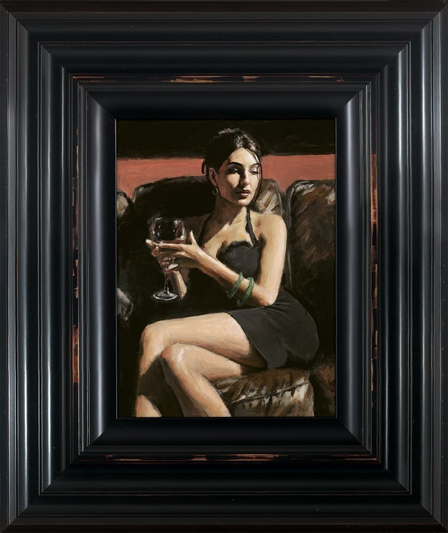 Tess on Leather Couch ~ Fabian Perez