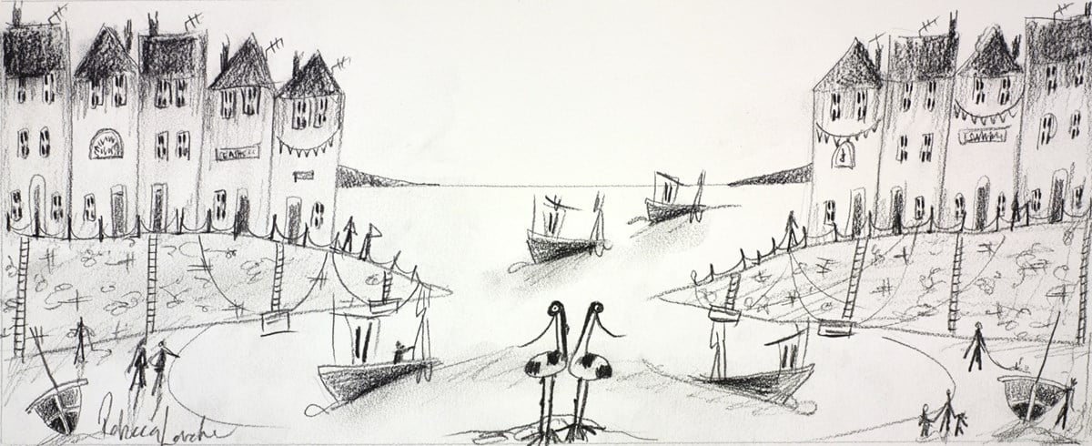 Busy Harbour Sketch II ~ Rebecca Lardner