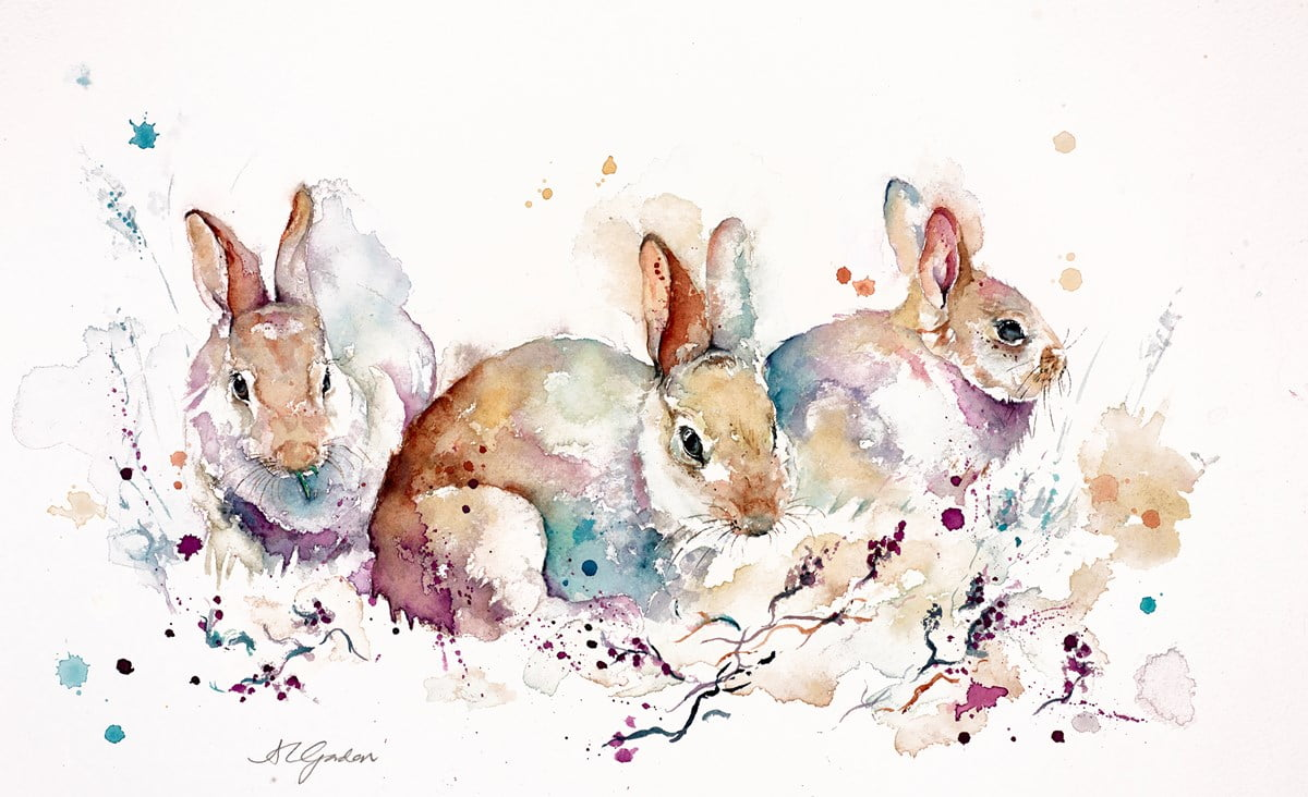 Baby Rabbits in Heather ~ Amanda Gordon