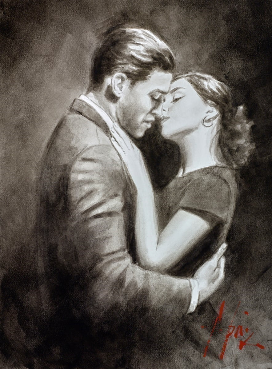 The Embrace VII (Couple) (Ink) ~ Fabian Perez