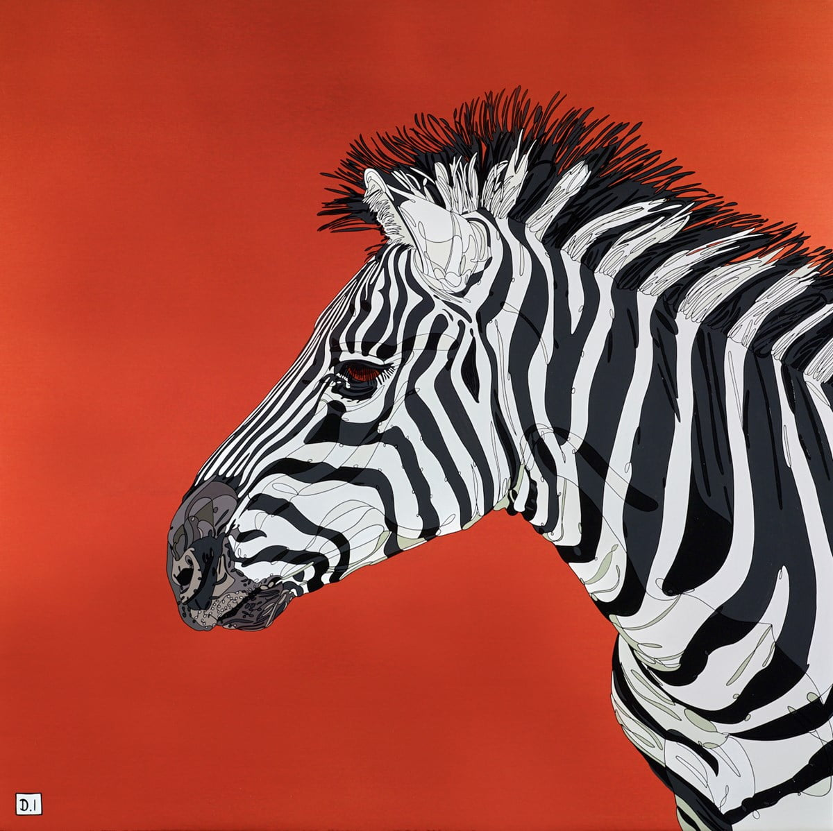 Zebra on Metallic Orange ~ Dylan Izaak