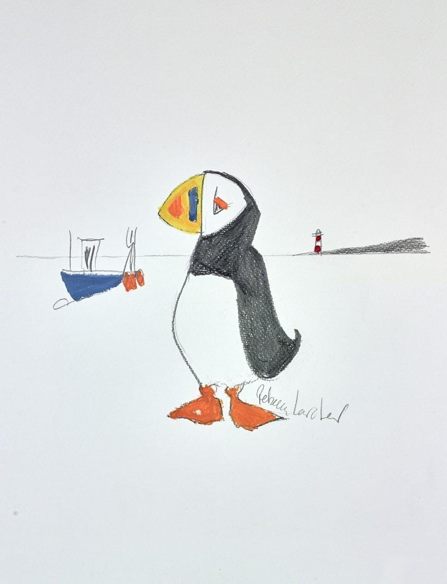 Seaside Puffin Sketch I ~ Rebecca Lardner