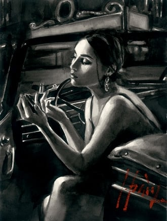 Darya in Car with Lipstick (P/board) ~ Fabian Perez