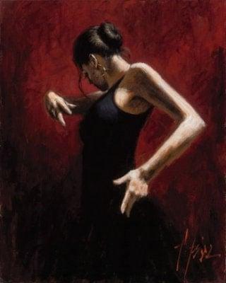 El baile del flamenco en rojo i ~ Fabian Perez