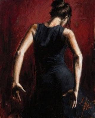 El baile del flamenco en rojo ii ~ Fabian Perez