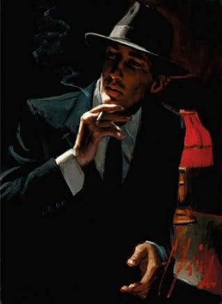 Black suit red wine ~ Fabian Perez