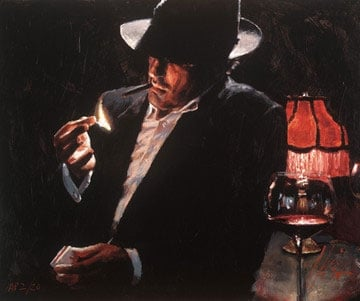 Man lighting a cigarette ii ~ Fabian Perez