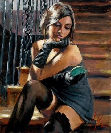 Saba on the Stairs (C/Board) ~ Fabian Perez
