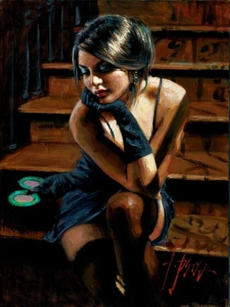 Saba on the stairs yellow touch ~ Fabian Perez