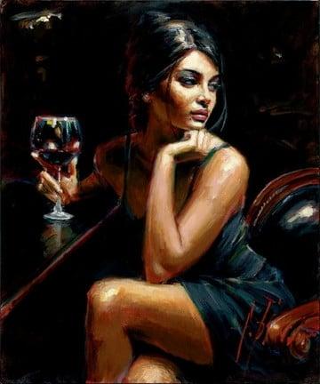 Saba with glass of red wine ~ Fabian Perez