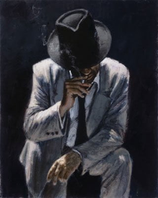 Smoking under the light in white suit ~ Fabian Perez