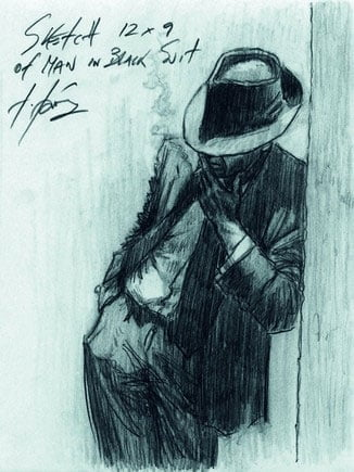 Sketch of Man in Black Suit ~ Fabian Perez