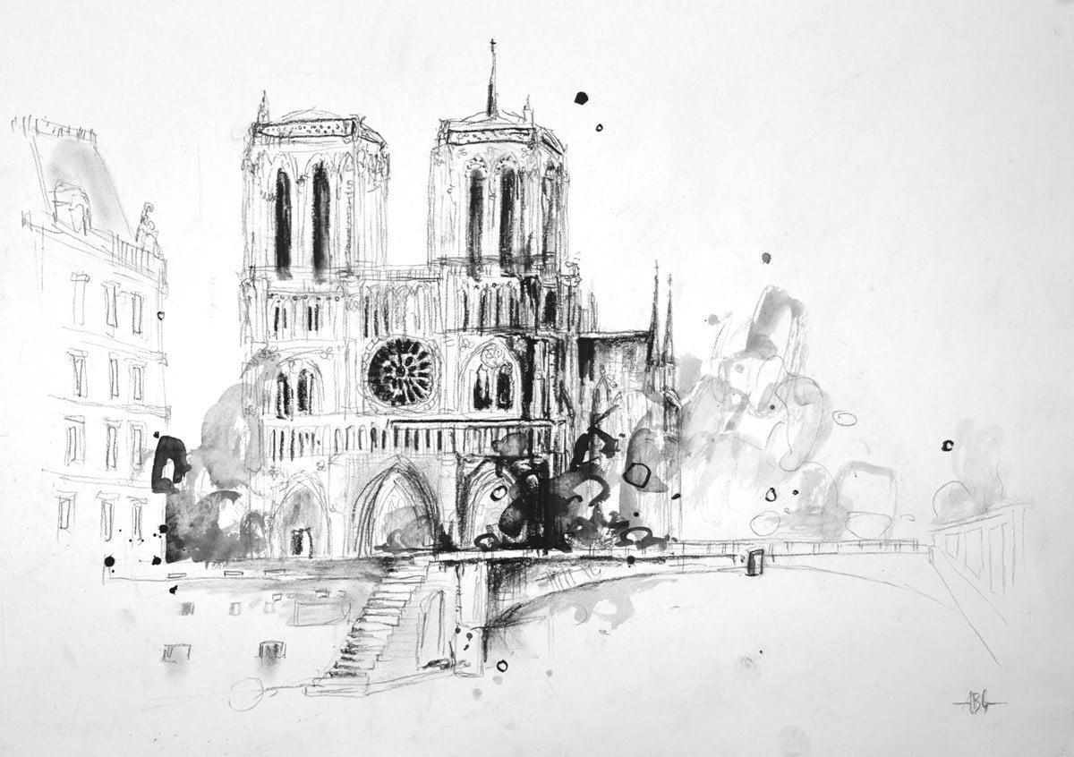 Notre Dame, Paris Sketch II ~ Anna Gammans