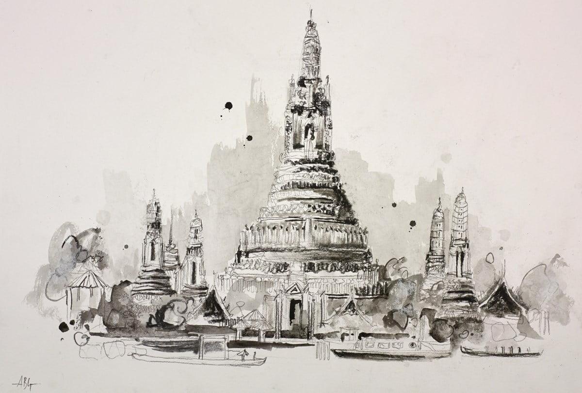Wat Arun, Thailand Sketch I ~ Anna Gammans