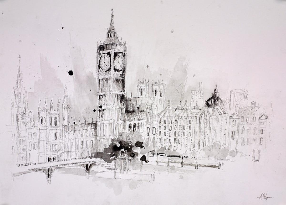 Westminster, London Sketch II ~ Anna Gammans