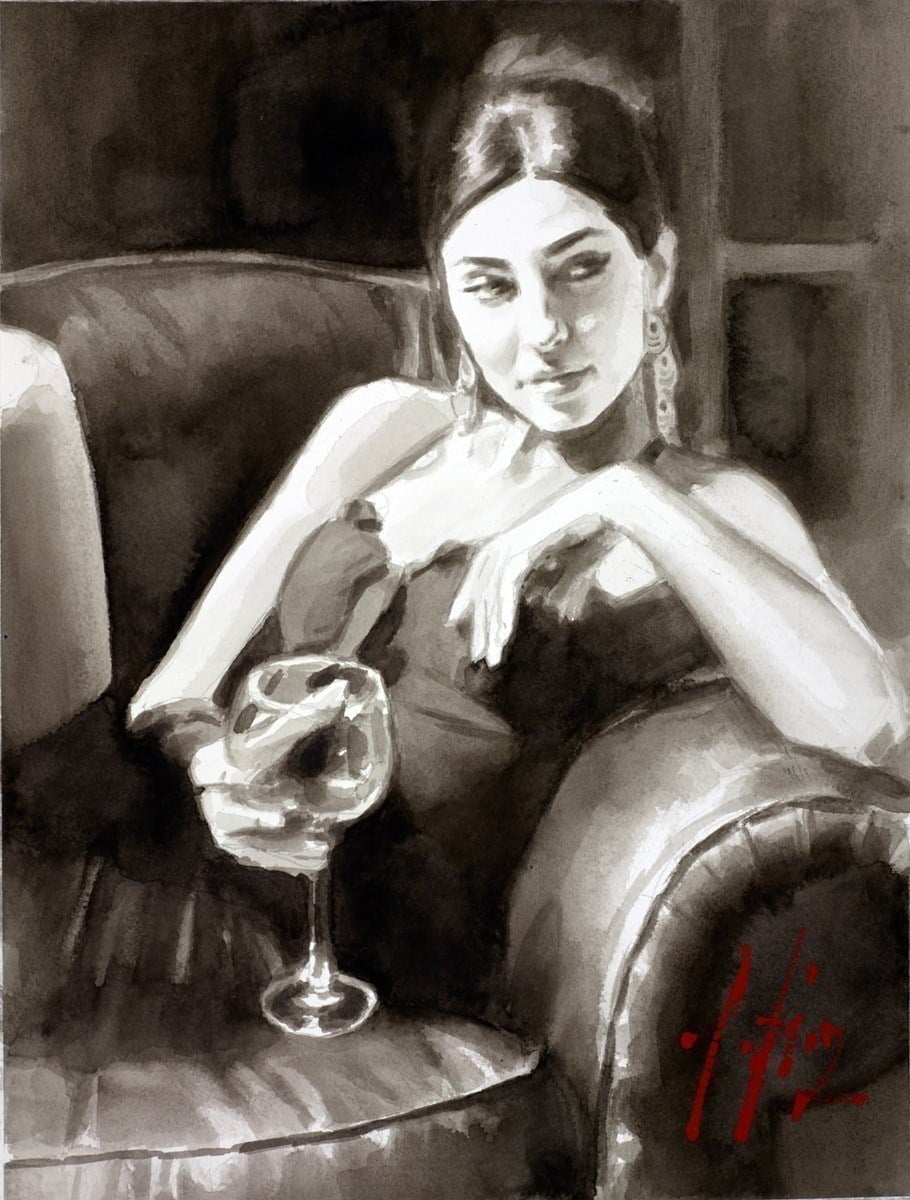 The Living Room V (Ink) ~ Fabian Perez