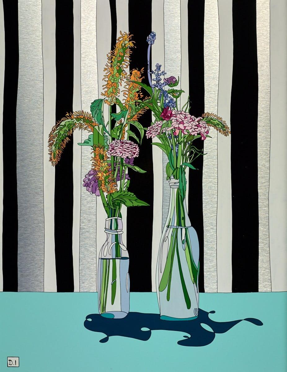 Flowers on Striped Wallpaper ~ Dylan Izaak
